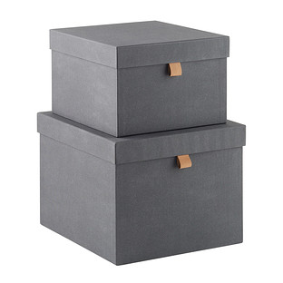 Bigso Charcoal Herringbone Storage Boxes
