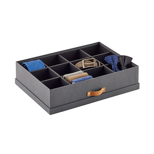 Bigso Charcoal Herringbone 12-Compartment Divided Organizer