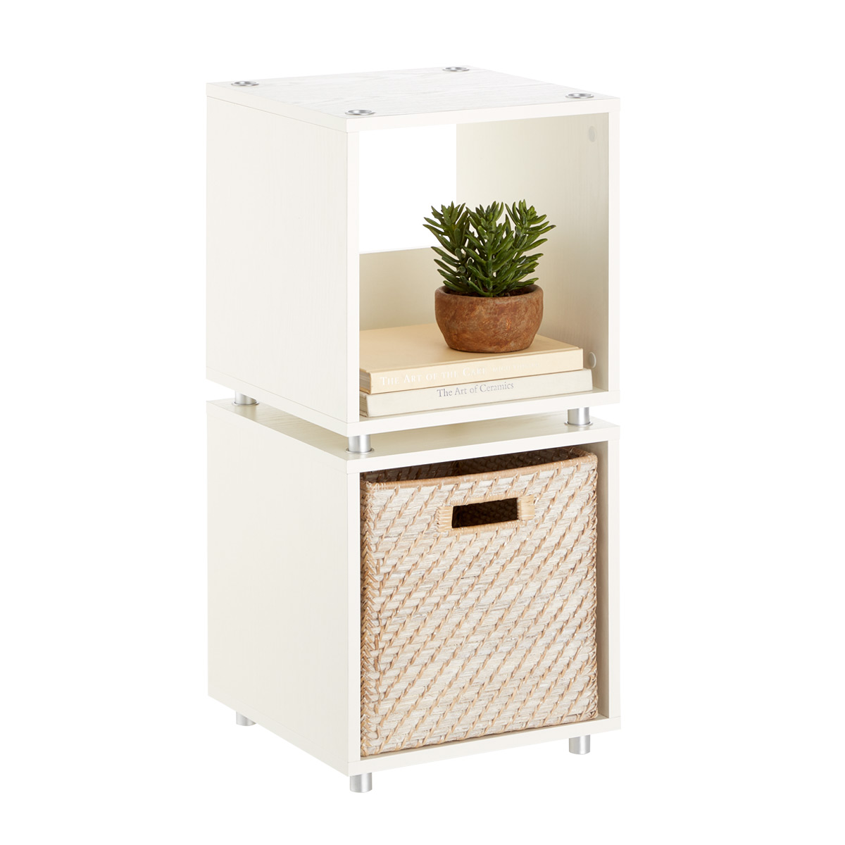 Small Whitewashed Vario Stackable Cubby Shelf