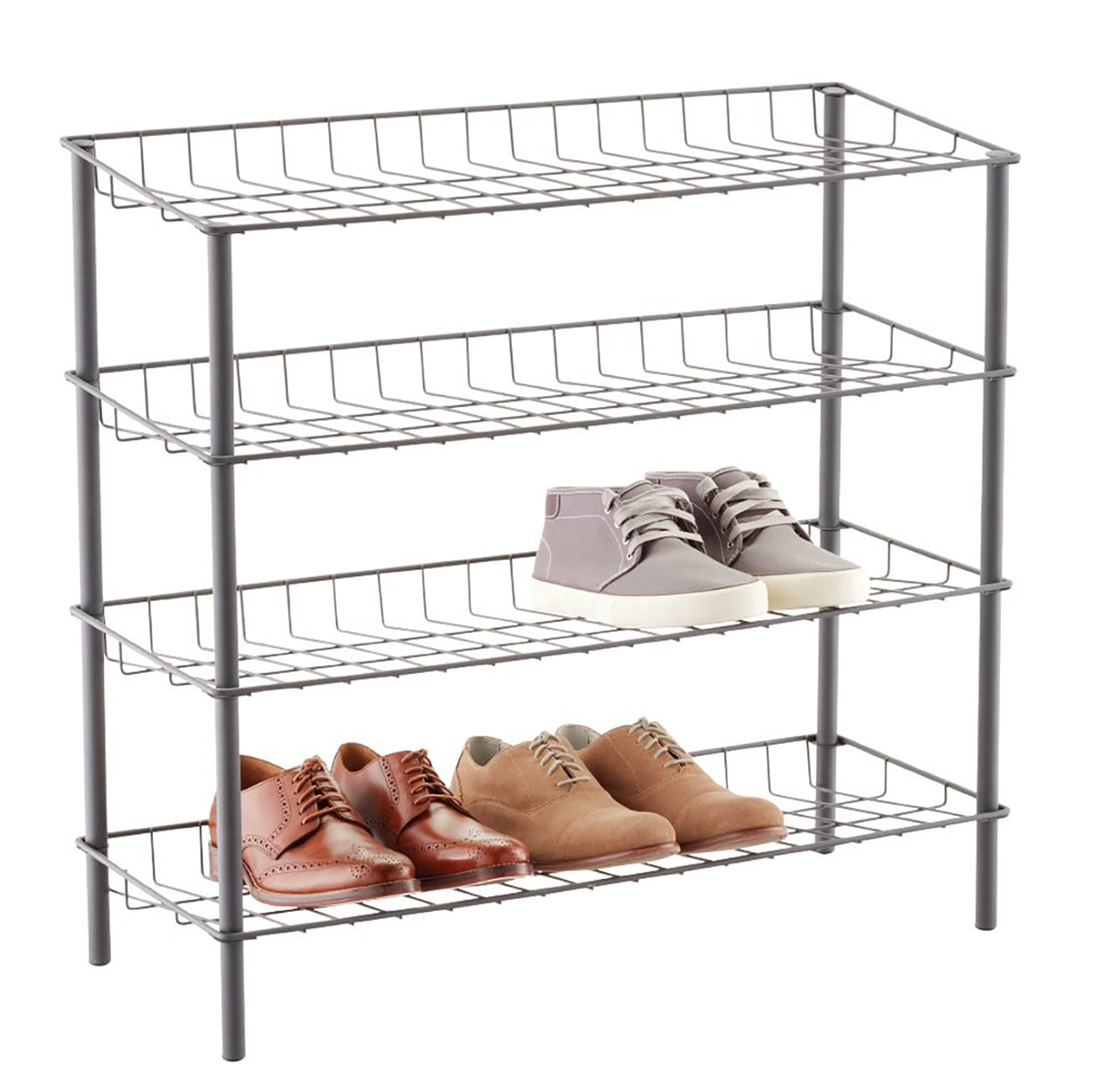 Graphite 4-Tier Metal Shoe Rack
