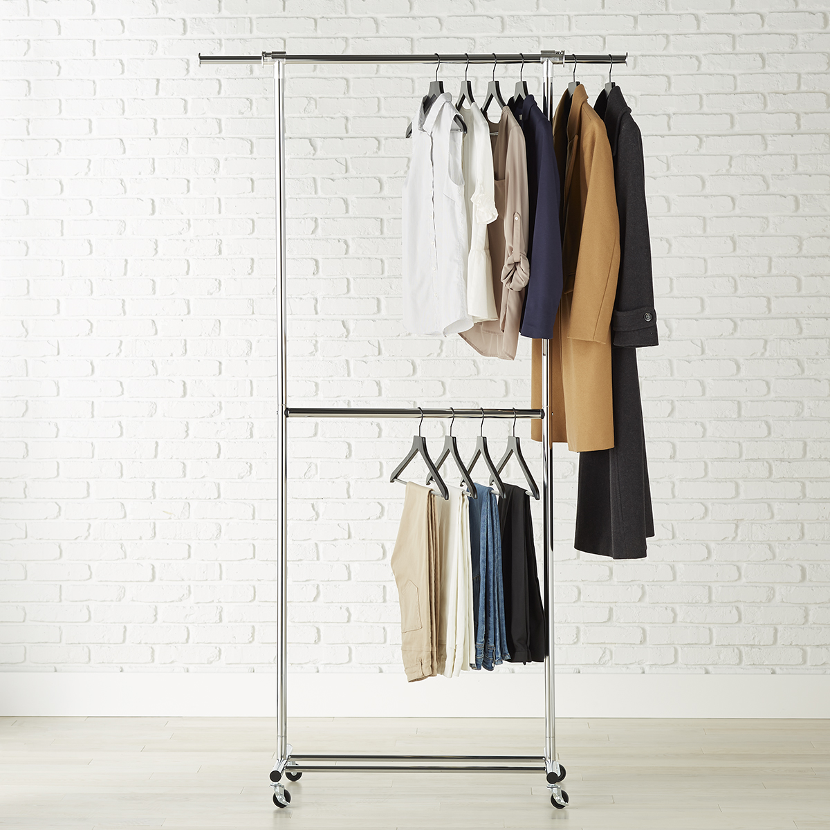 Chrome Metal Double Hang Clothes Rack
