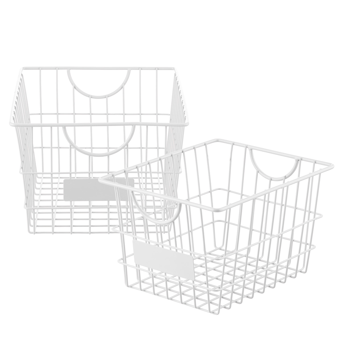 White Wire Storage Baskets with Handles