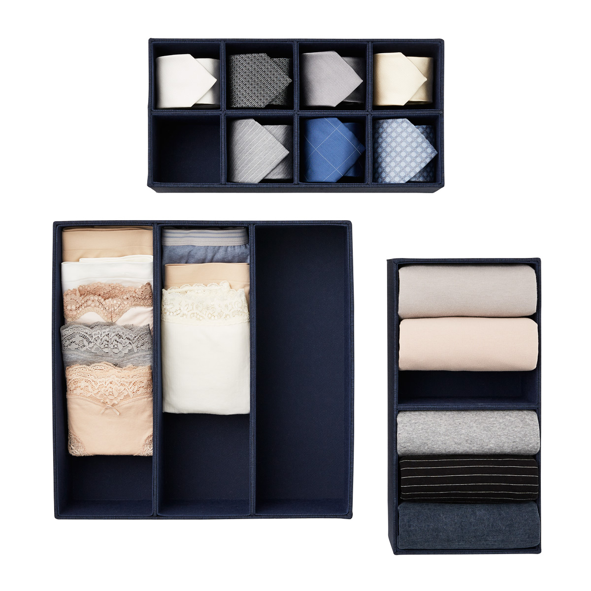 Navy Cambrige Drawer Organizers