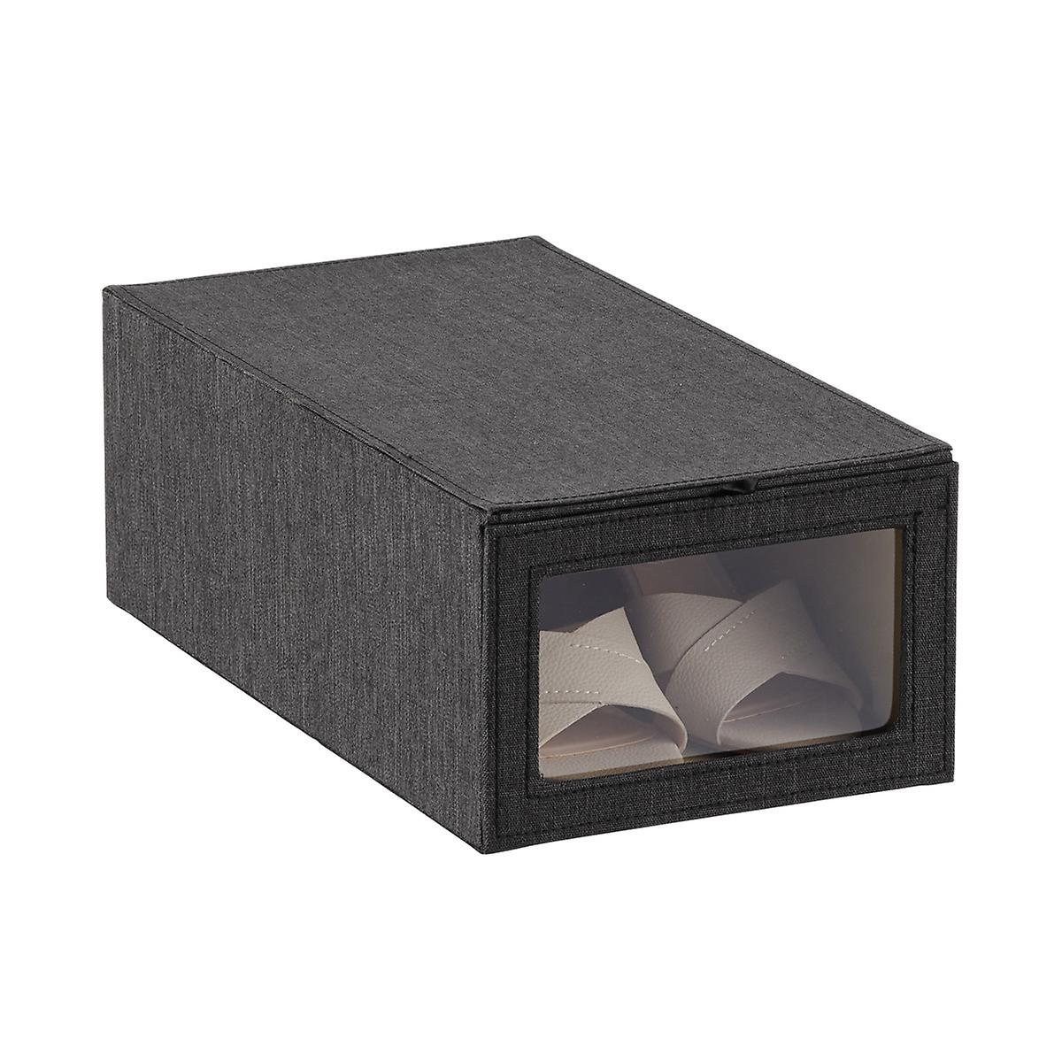 Black Cambridge Drop-Front Shoe Box