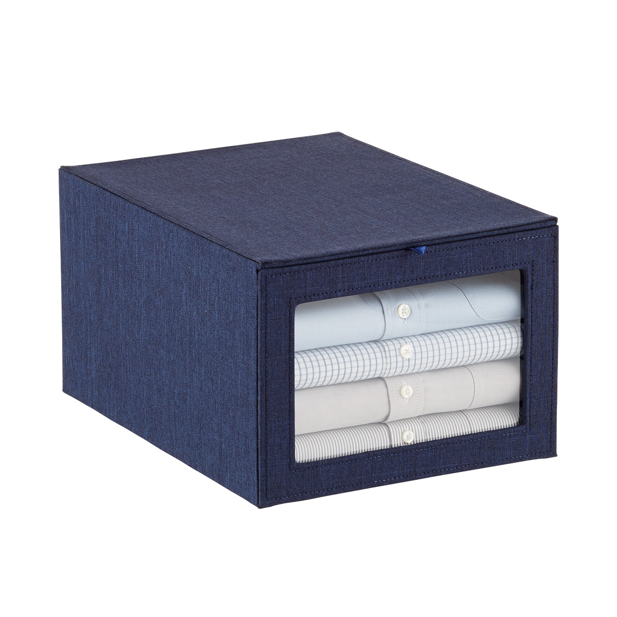 Navy Cambridge Drop-Front Shirt Box