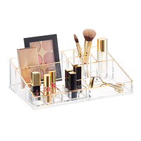 Luxe Large Acrylic Makeup Organizer with Copper Trim