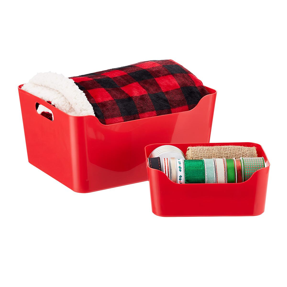 Red Plastic Storage Bins with Handles
