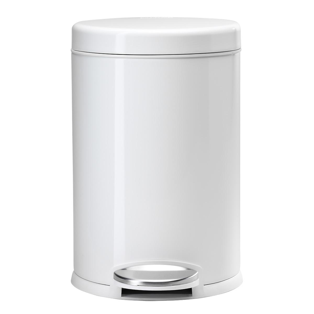 simplehuman White 1.2 gal. Round Step Trash Can