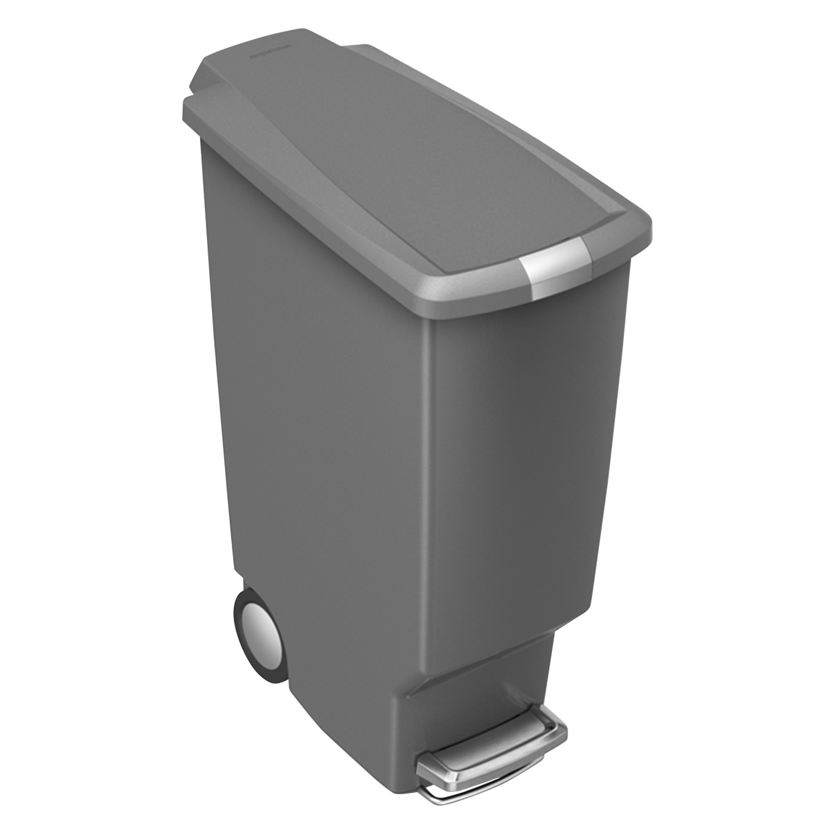 simplehuman Grey 10 gal. Slim Plastic Step Trash Can
