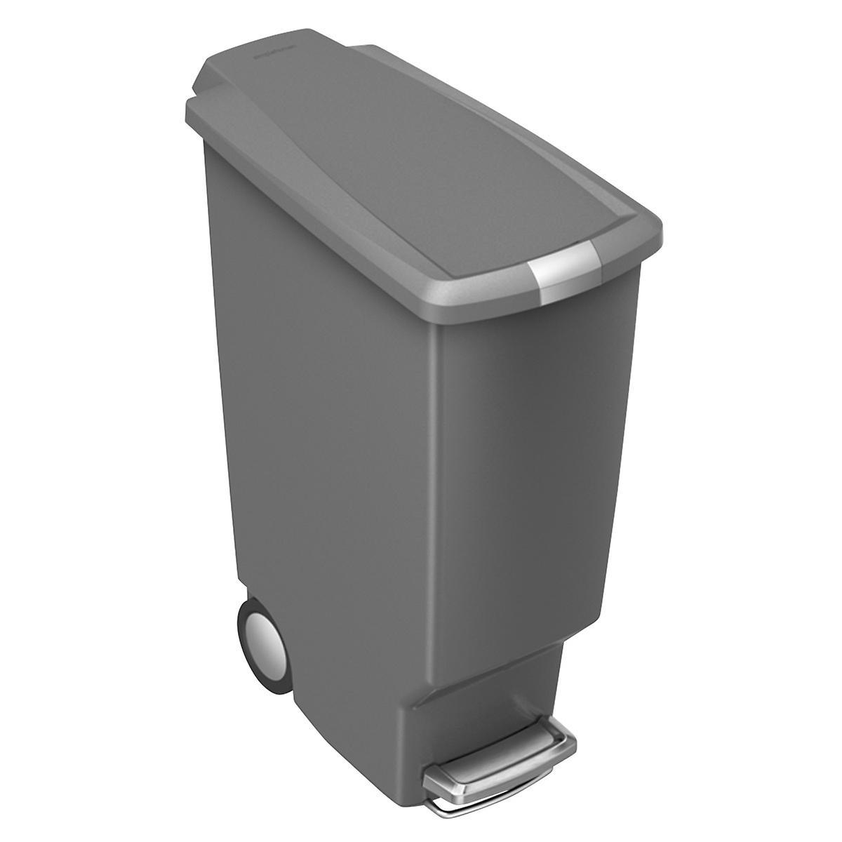 simplehuman Grey 10 gal. Slim Plastic Step Trash Can