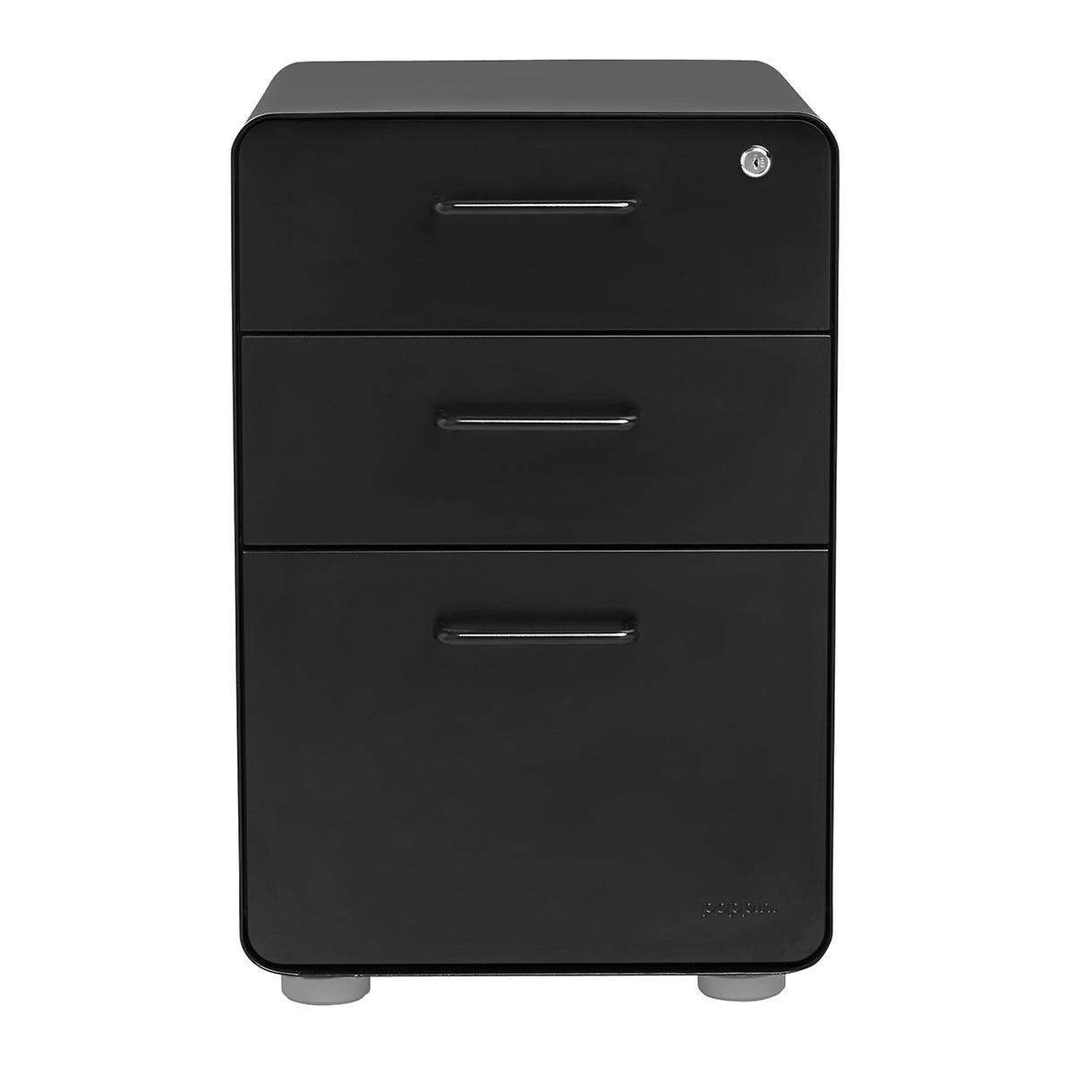 Poppin Matte Black 3-Drawer Stow Locking Filing Cabinet