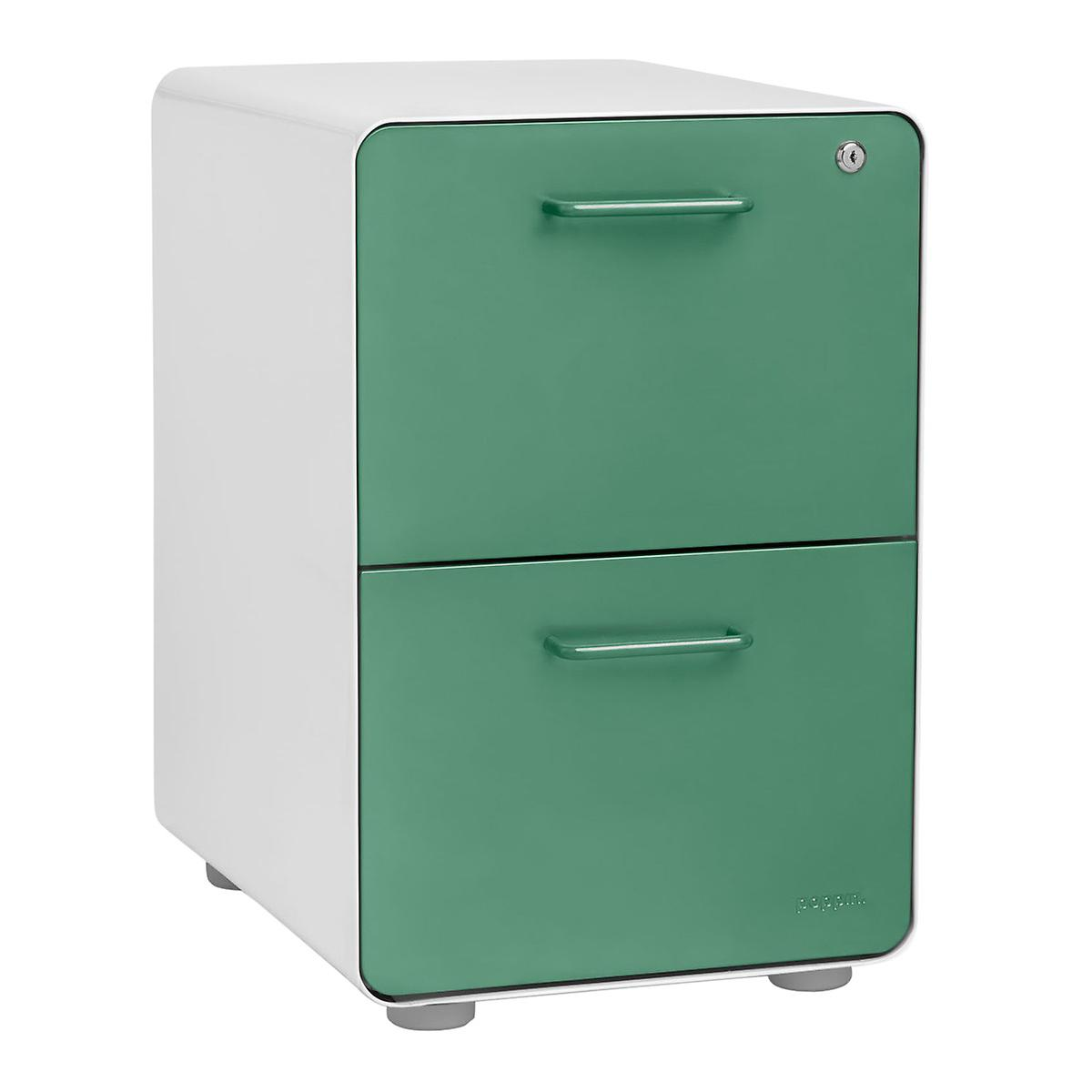 Poppin Sage 2-Drawer Stow Locking Filing Cabinet