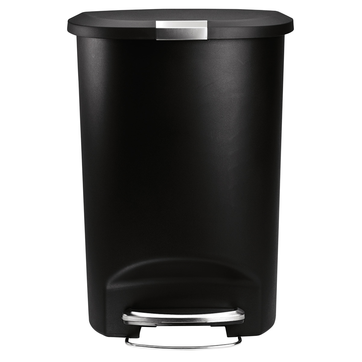 simplehuman Black 13 gal. Semi-Round Plastic Step Trash Can