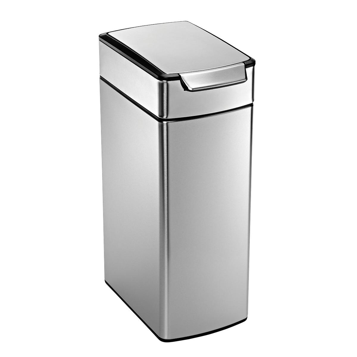 simplehuman Stainless Steel 10 gal. Slim Touch Bar Trash Can