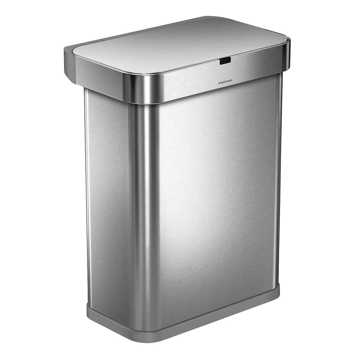 simplehuman Stainless Steel 15.3 gal./58L Voice & Motion Sensor Trash Can