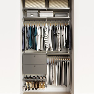 Elfa Decor 4' Platinum & Grey Reach-In Drawer Front Closet
