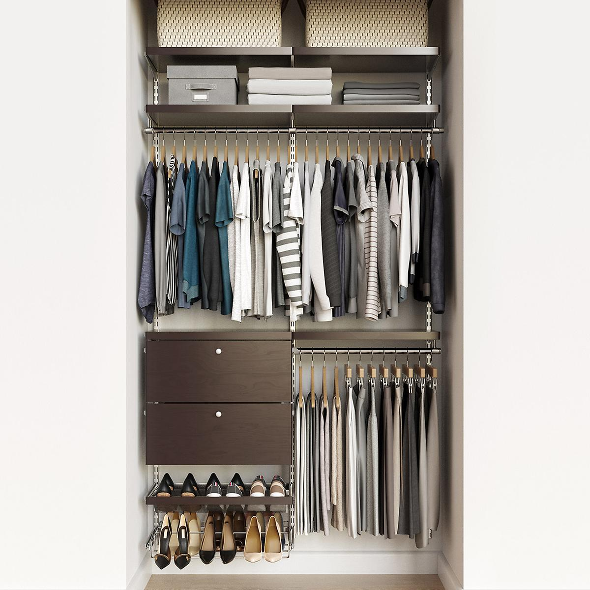 Elfa Decor 4' Platinum & Walnut Reach-In Drawer Front Closet