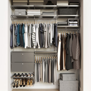Elfa Decor 6' Platinum & Grey Reach-In Drawer Front Closet