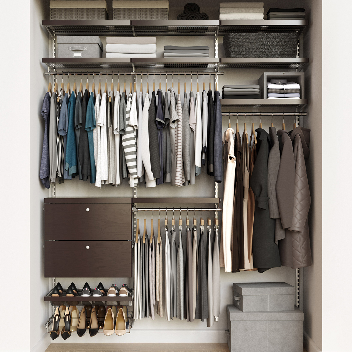 Elfa Décor 6'  Platinum & Walnut Reach-In Drawer Front Closet