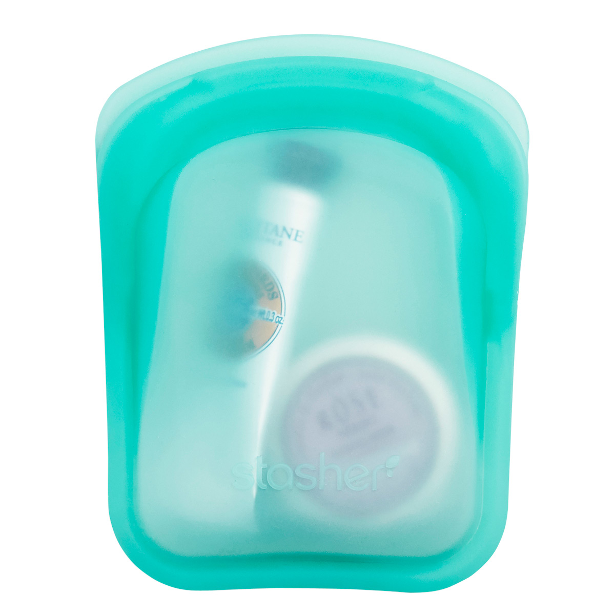 Stasher Clear/Aqua Silicone Pocket-Size Reusable Bag Pkg/2