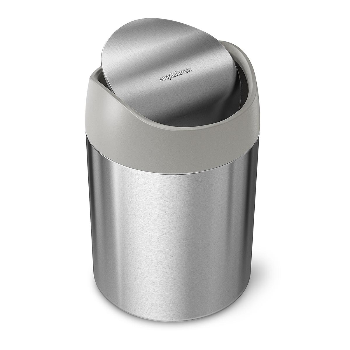 simplehuman Stainless Steel Swing-Lid Countertop Trash Can