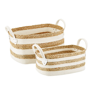 Seagrass and Cotton Baskets with Handles