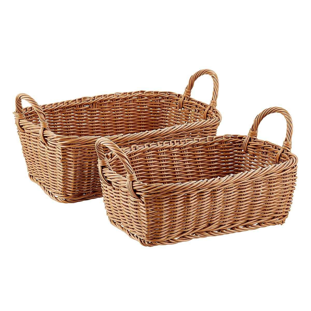 Willow Rectangular Wicker Storage Baskets with Handles