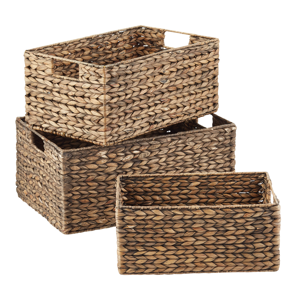 Mocha Water Hyacinth Bins Set of 3