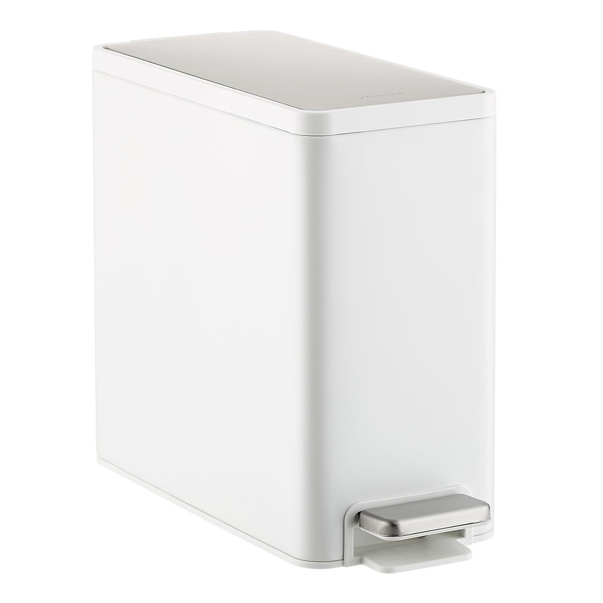 Kohler 2.5 gal. Slim White Stainless Steel Wastebasket