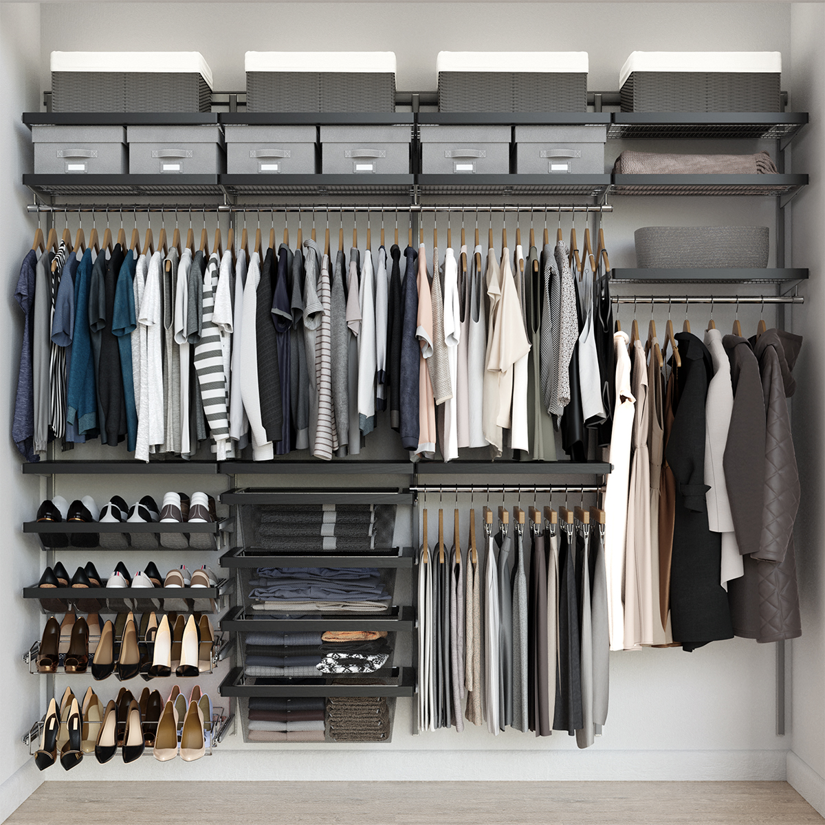 Elfa Décor 8' Platinum & Grey Reach-In Closet