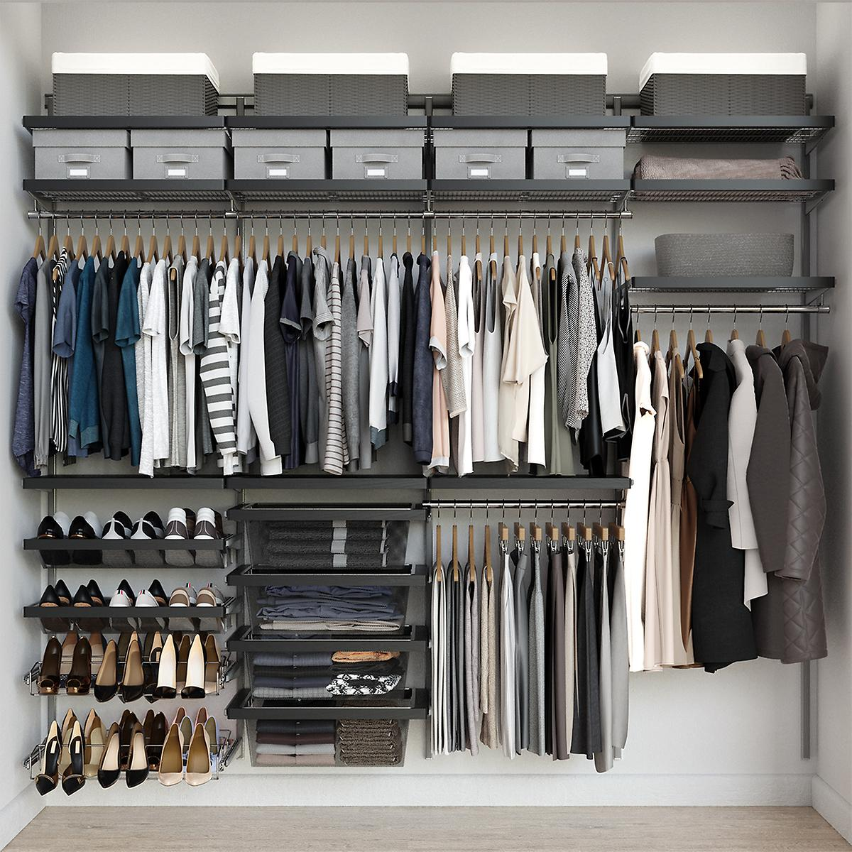Elfa Décor 8' Platinum & Grey Reach-In Closet