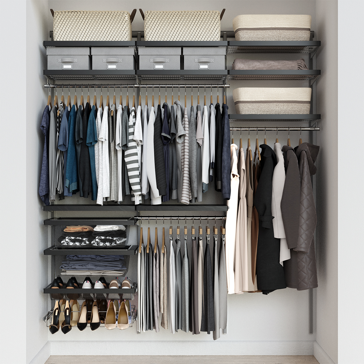 Elfa Decor 6' Platinum & Grey Reach-In Closet