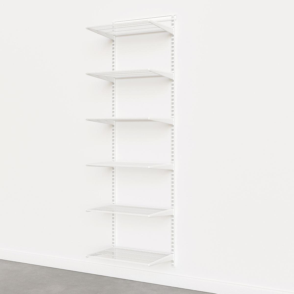 Elfa Classic White 2' Basic Shelving Units for Anywhere