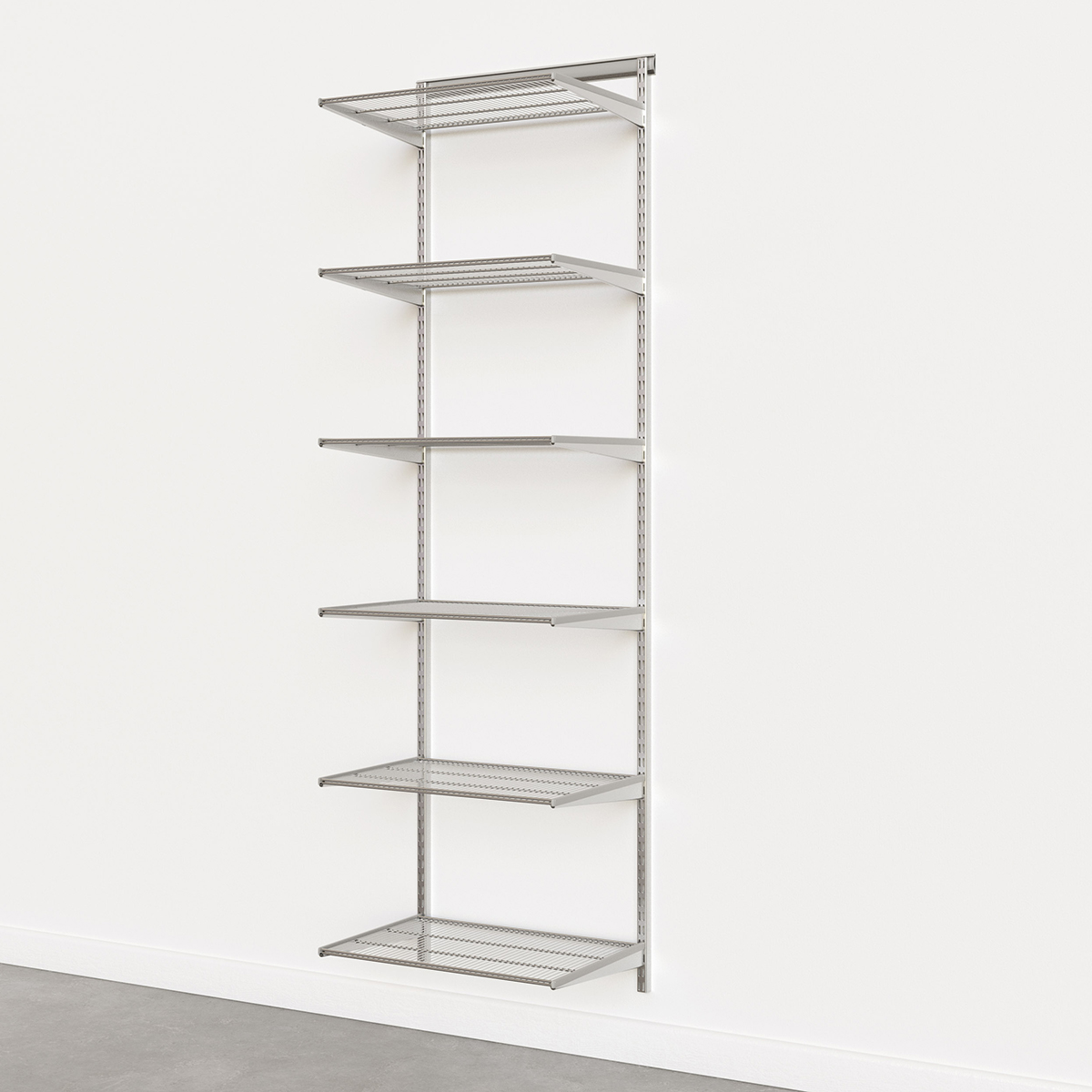 Elfa Classic Platinum 2'  Basic Shelving Units for Anywhere