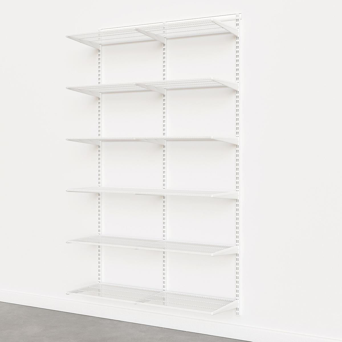 Elfa Classic White 4' Basic Shelving Units for Anywhere