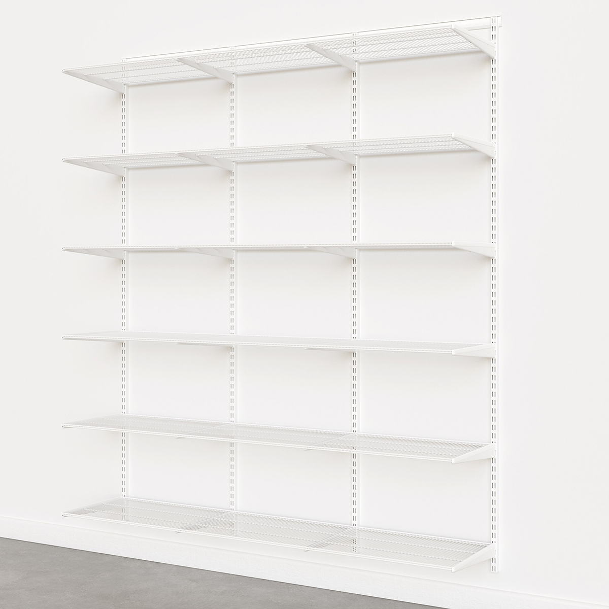 Elfa Classic White 6' Basic Shelving Units for Anywhere