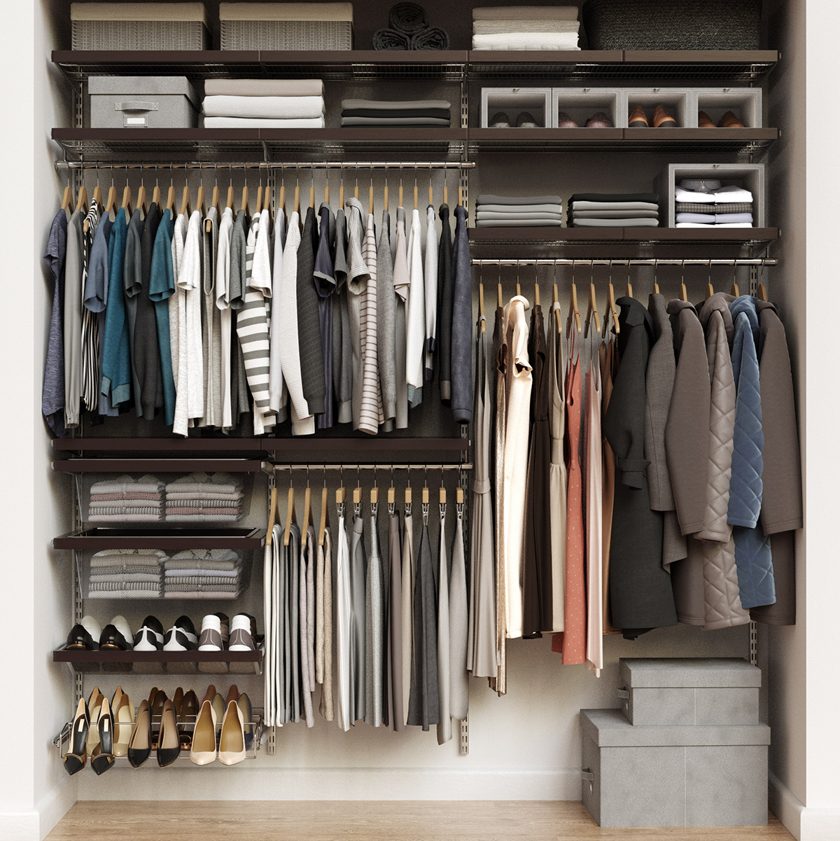 Elfa Décor 7' Walnut & Platinum Reach-In Closet