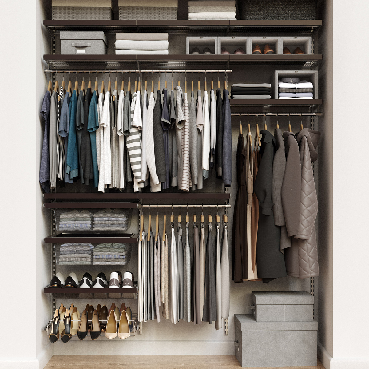 Elfa Décor 6' Platinum & Walnut Reach-In Closet