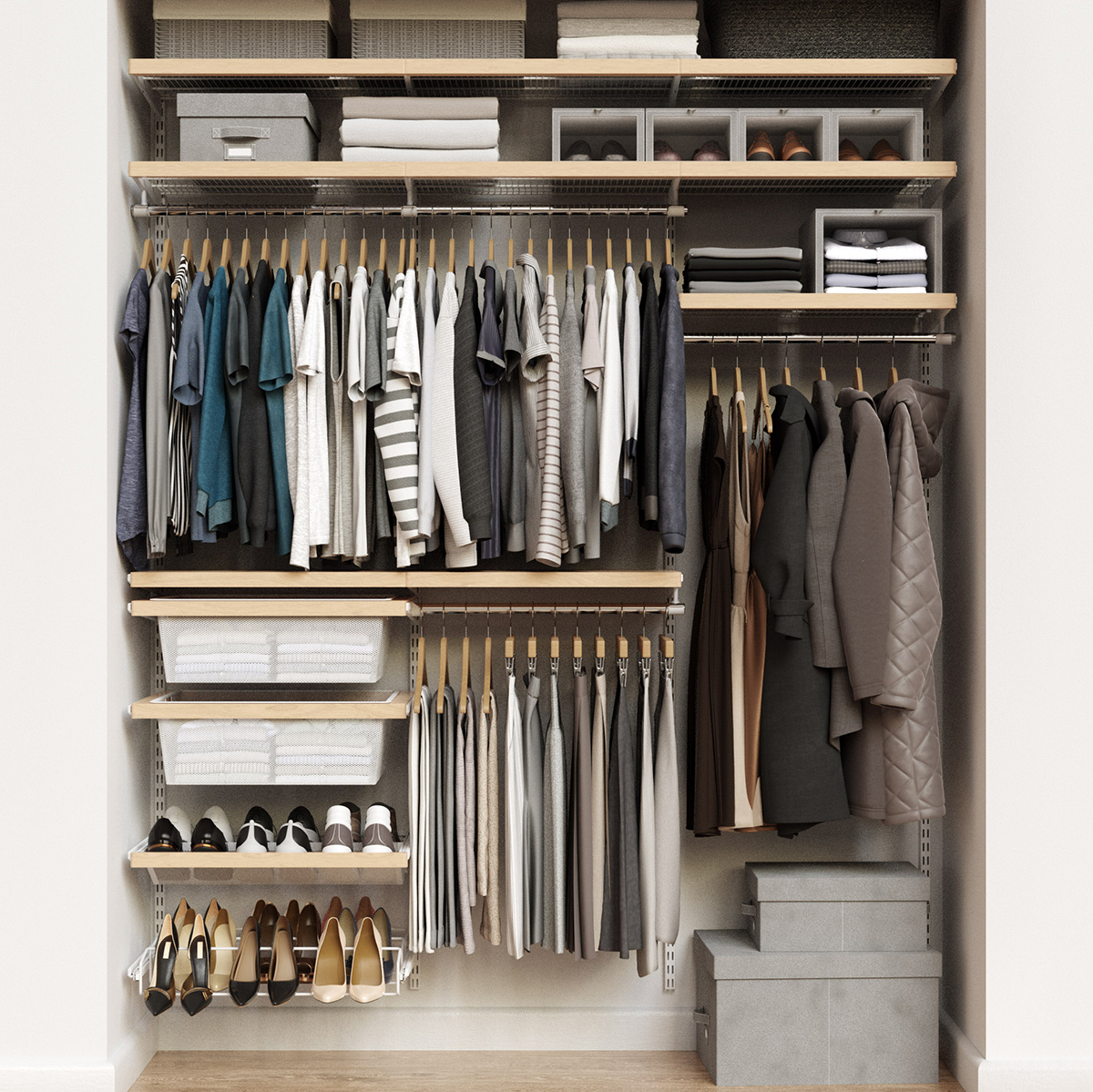 Elfa Decor 6'  Birch & White Reach-In Closet