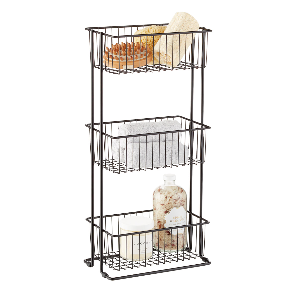 Matte Black 3-Tier Shelf Basket Tower