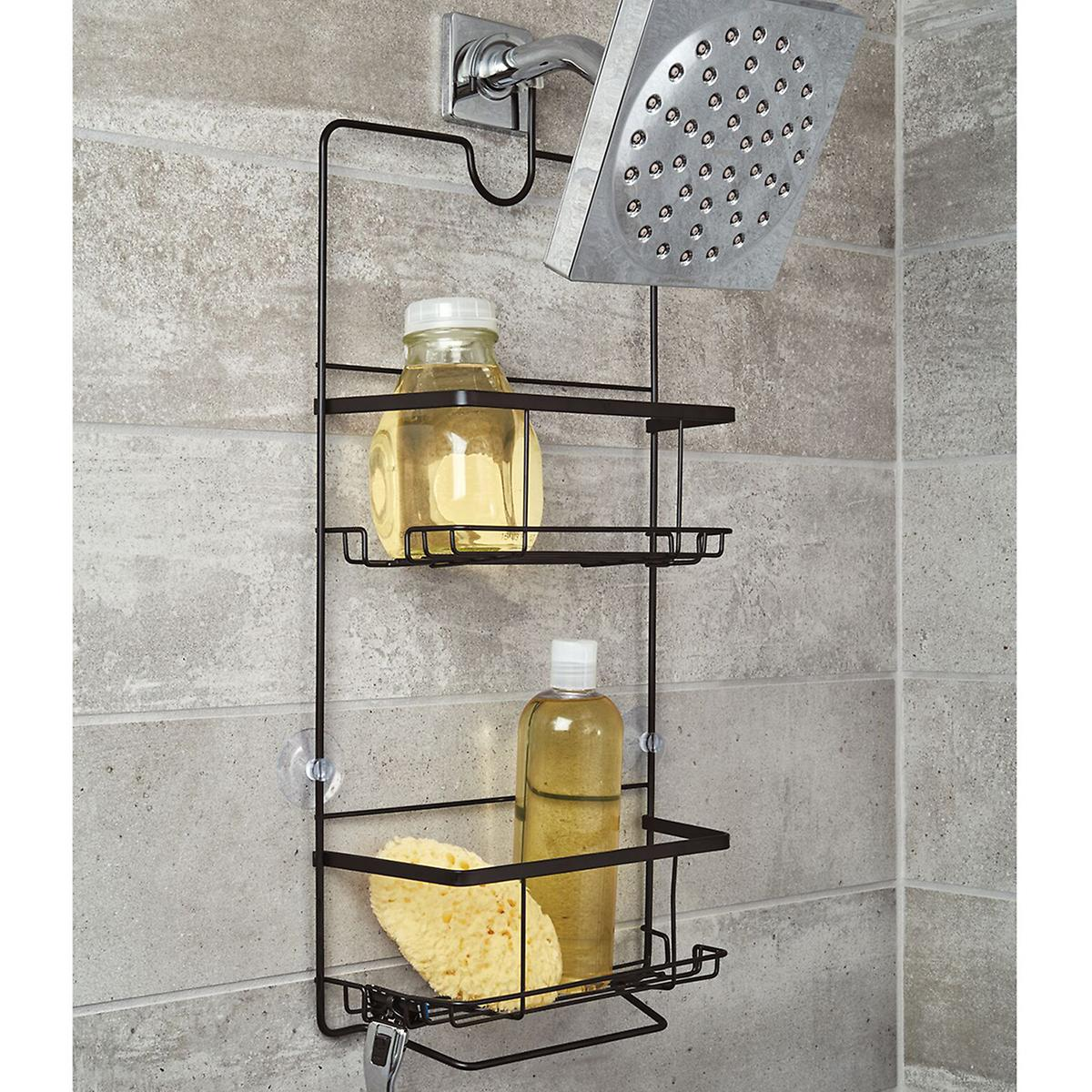 iDesign Everett Matte Black Push-Lock Suction Shower Caddy
