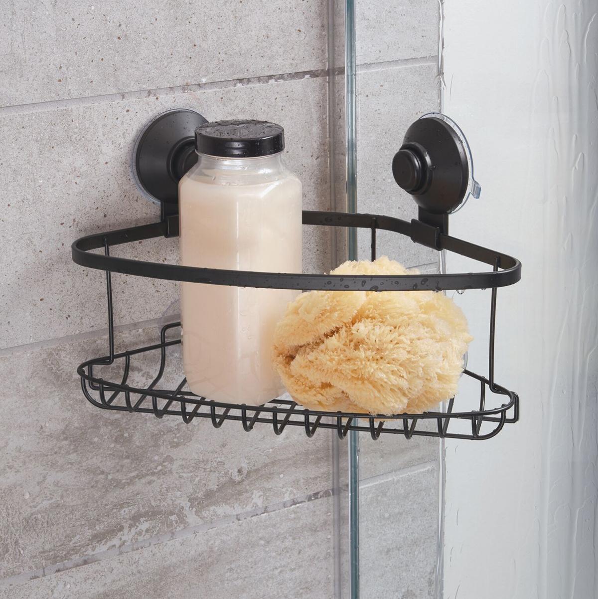 iDesign Everett Matte Black Push-Lock Suction Shower Corner Basket