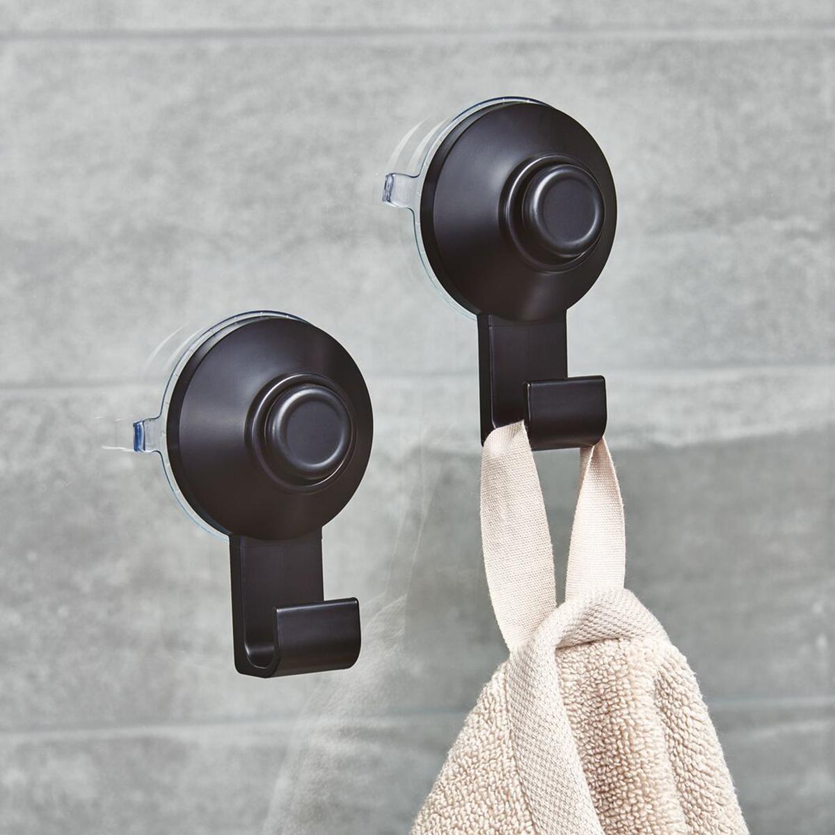 iDesign Everett Matte Black Push-Lock Suction Shower Hook