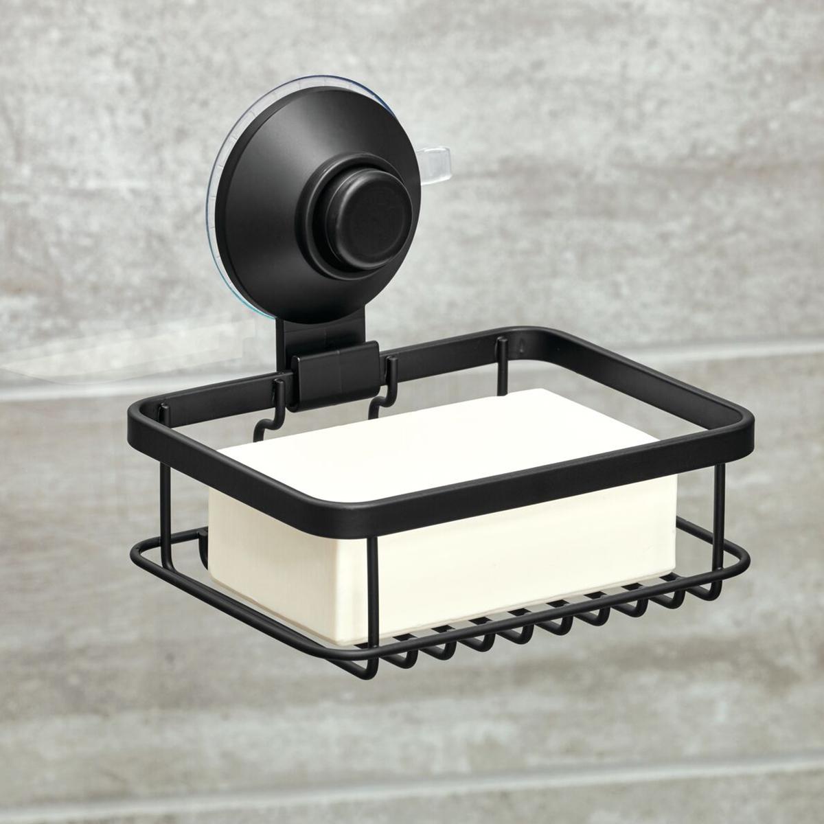 iDesign Everett Matte Black Push-Lock Suction Shower Soap Holder