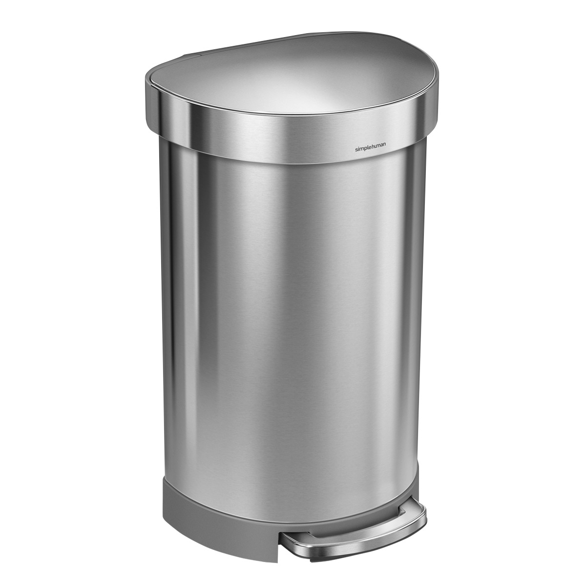 simplehuman Stainless Steel 12 gal. Semi Round Step Trash Can