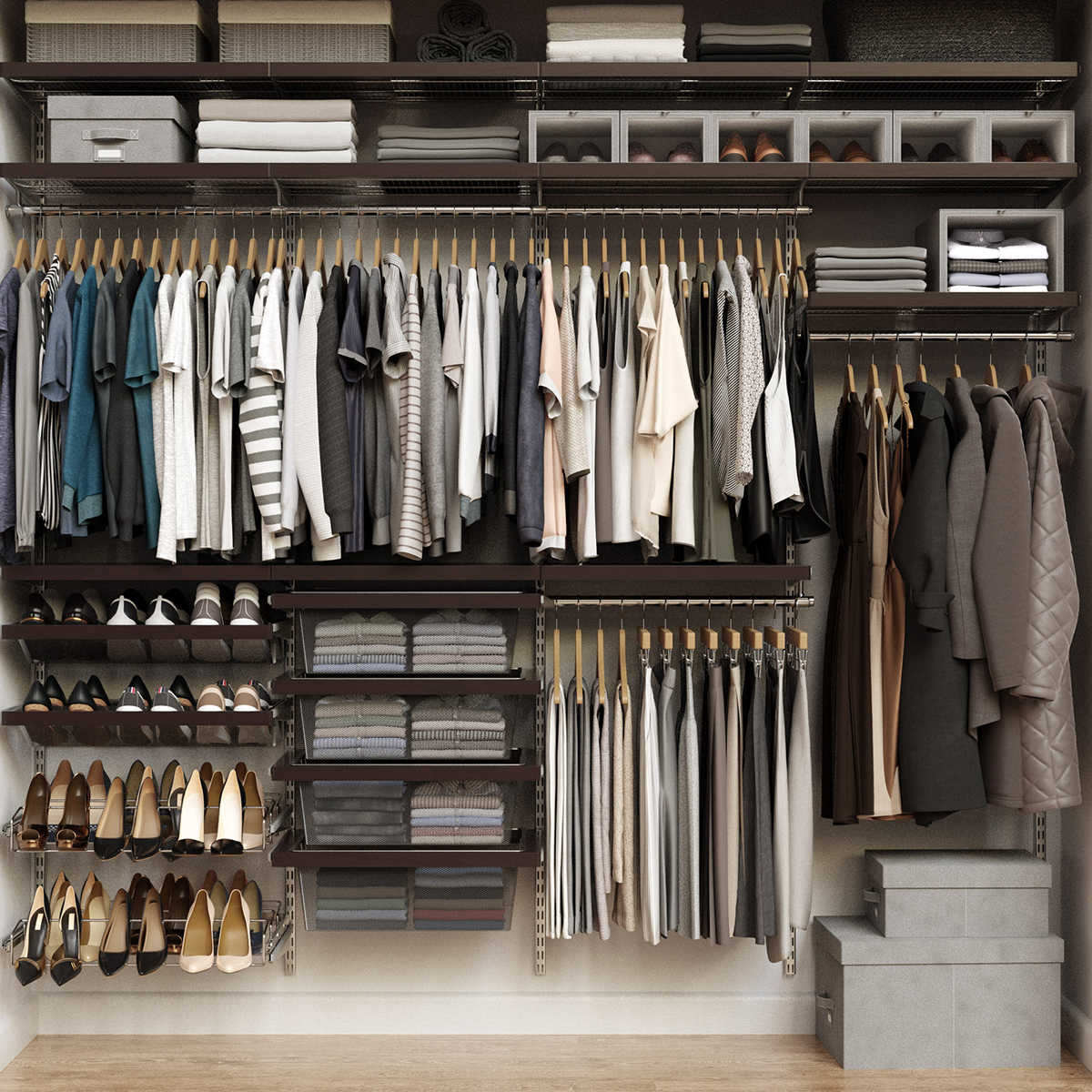 Elfa Décor 8' Walnut & Platinum Reach-In Closet