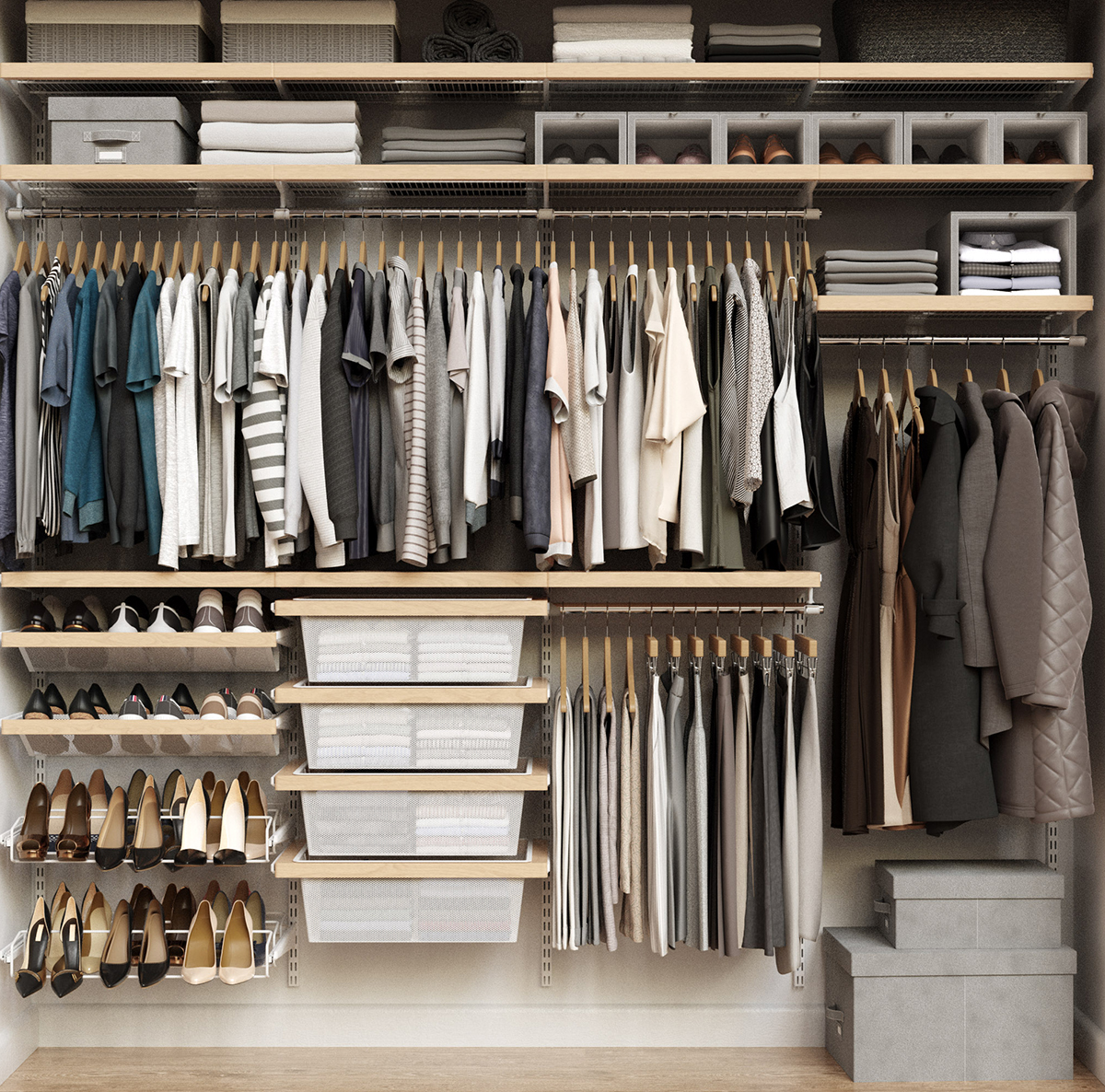 Elfa Décor 8' Birch & White Reach-In Closet