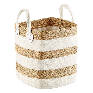Seagrass and Cotton Cube Basket with Handles