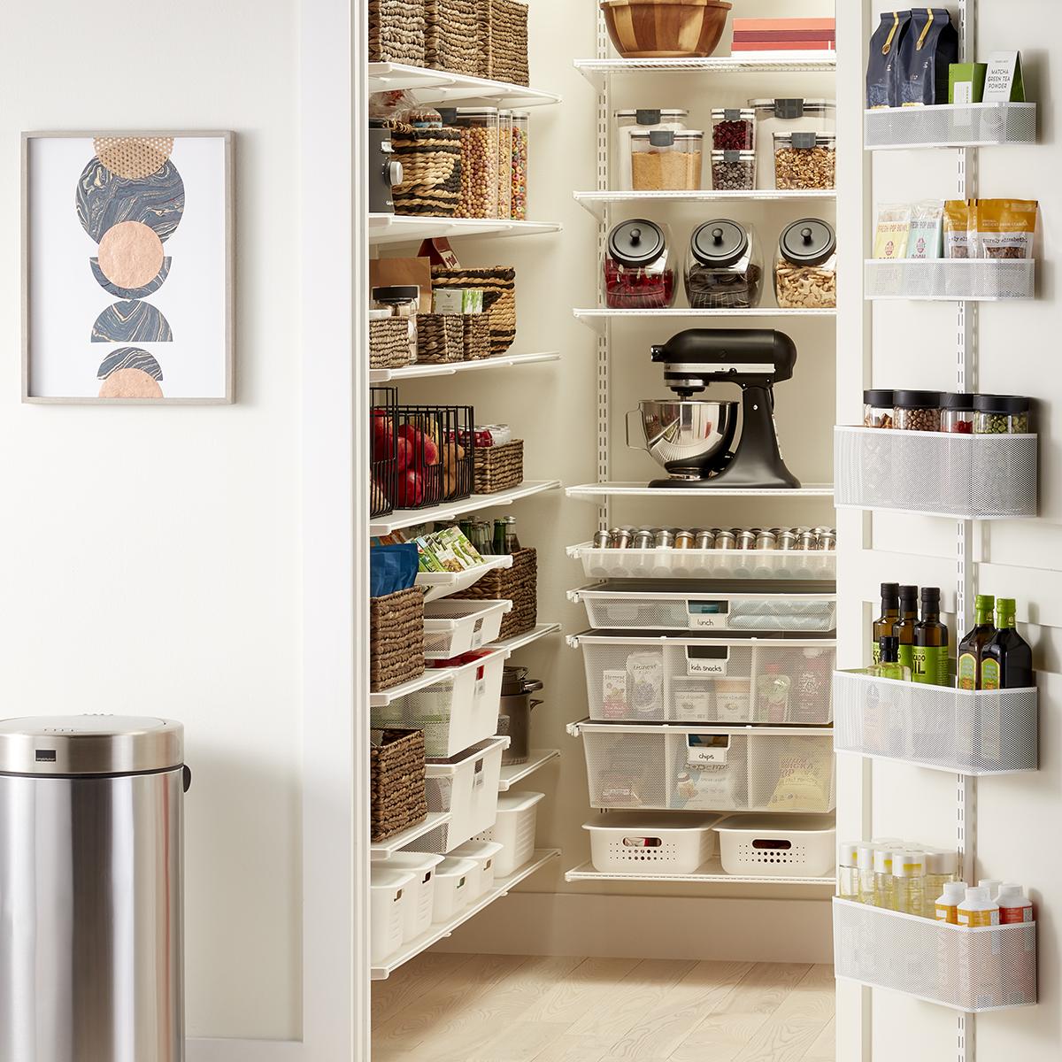 Elfa Classic White Walk-In Pantry with Door & Wall Rack