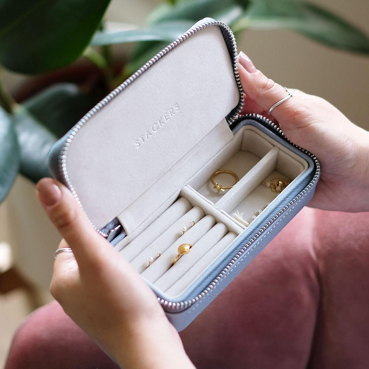 Stackers Dusky Blue Travel Jewelry Case